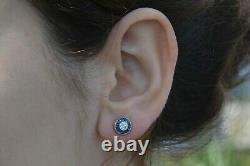Art Déco Diamant Bleu Saphir Halo Platinum Rond Demi-carottes Boucles D'oreilles Gem
