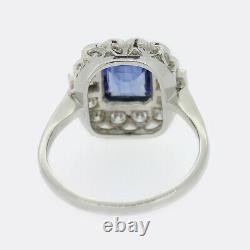 Art Déco Style 1.50 Carat Sapphire Et Diamond Cluster Ring Platinum