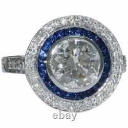 Art Déco Vintage Rond Coupe Diamant Bleu Saphir Bague De Mariage 2.75 Carat