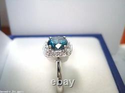 Bague De Fiançailles Diamant Bleu Amélioré 14k Or Blanc 1.15 Carat Halo Pave Unique