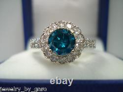 Bague De Fiançailles Diamant Bleu Amélioré 1.76 Carat 14k White Gold Conception Unique