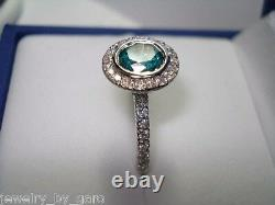 Bague De Fiançailles En Diamant Bleu 14k Or Blanc 1.35 Carat Lunette Set Halo