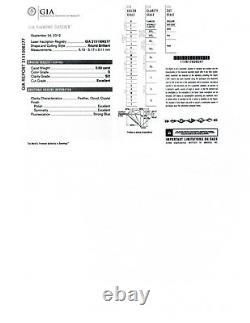 Bague De Fiançailles En Or Blanc 14k Certifié Nil Bleu. 5 Carats S12/d