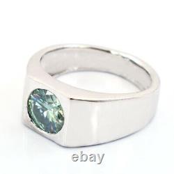 Bague Diamant Bleu. 2 Carats Certifié Et Terre Extrait. Excellente Coupe & Lustre