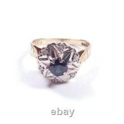 Bague Saphir Et Amas De Diamants 9 Carats Jaune Or Vintage