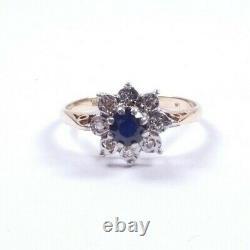 Bague Saphir Et Amas De Diamants 9 Carats Or Jaune Taille N