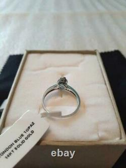Belle 1.69 Carat London Blue Topaz & Vs Diamonds 14k Solid White Gold Ring