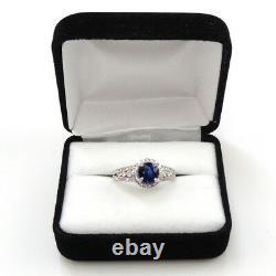 Bleu Saphir Rond 1.11 Carat Halo Bague Avec Diamant En Or Blanc 14k (144831)
