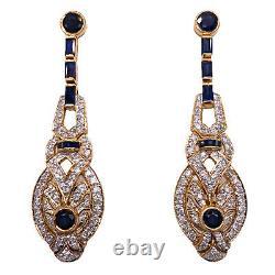 Bleu Sapphire Diamond 18 Boucles D'oreilles Karat Yellow Gold Drop Estate