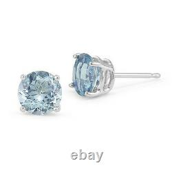 Boucles D'oreilles 14k Solid White Gold March Light Blue Aquamarine Round Shape Stud Push