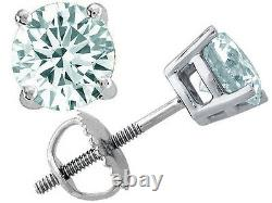 Boucles D'oreilles All Size's 14k Screw Back Solid White Gold Aquamarine Round Shape Stud