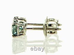 Boucles D'oreilles Diamant Stud Fancy Blue Coupe Ronde 0,75 Carat Vs2 Traité En Or Blanc 14k