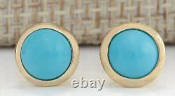 Boucles D'oreilles En Or Jaune 14k Carat Natural Turquoise 3.00