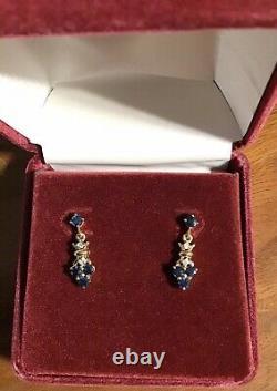 Boucles D'oreilles Percées Dainty 14k Karat Yellow Gold Sapphire Diamond