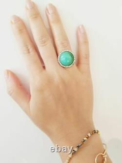 Cartier Turquoise Diamond Ring En Or Jaune 18 Karat - Regardez! Millésime