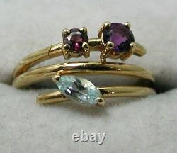 Design Inhabituel 9 Carats Or Améthyste Rose Tourmaline & Blue Topaz Ring K. 1/2