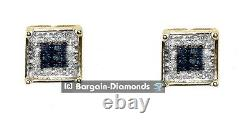 Diamant Blanc Bleu. 10 Carats 10k Boucles D'oreilles Vissées En Or Carré Unisexe