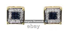 Diamant Blanc Bleu. 15 Carats 10k Boucles D'oreilles Vissées En Or Carré Unisexe