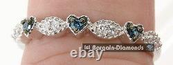 Diamant Bleu. 14 Carats 3-stone Hearts Eternal Love Promise 925 Ring Engagement