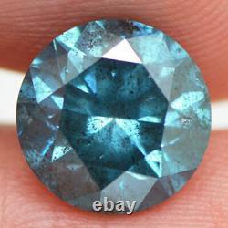 Diamant En Forme Ronde Loose 3.07 Carat Fancy Blue Color Real I1 Certifier Amélioré