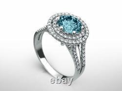 Diamond Ring 2.5 Carat Vs2 VIVID Bleu Rond Accented Fancy 14 K Or Blanc Nouveau