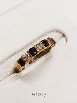 Domaine 14k Karat Or Jaune Sapphore Et Diamond Ring 0.82 Carat 2,5 Grm