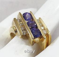 Domaine Trouver 14k Karat Or Jaune Tanzanite Naturel Et Diamond Ring Taille 6.25