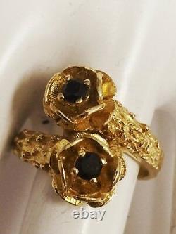 Estate 14k Karat Yellow Gold Flower Design Sapphire Ring 0.14 Carats