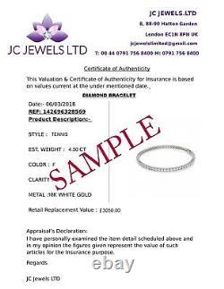 Exclusive Designer 4.00 Carat Ronde Diamant Et Bracelet Saphir En Or Blanc