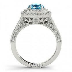 Fancy Blue Diamond Double Halo Solitaire Ring 14k Or Blanc 1.33 Carat Magnifique