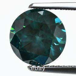 Fancy VIVID Blue Color Round Natural Loose Diamond 3.01 Tcw Carat Vs1