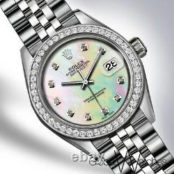 Femmes Rainbow Pearl Diamond Rolex 26mm Petit 1,20 Carat Jubilé Datejust Watch