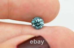 Forme Ronde Diamant Loose Fancy Blue Color 0.81 Carat Vs1 Natural Enhanced Real