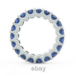 Heavy Gold 3mm 3.00 Carat Round Sapphire Claw Set Anneau Pleine Eternité, Or Blanc