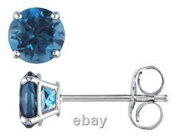 London Blue Topaz 1.10 Carat (ctw) Boucles D'oreilles En Or Blanc 14k