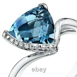 London Blue Topaz Diamond Ring 14kt White Gold Trillion Coupe 2,8 Carats Taille 7
