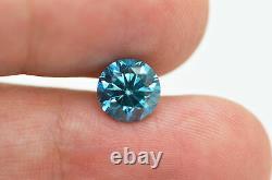 Loose Blue Diamond Round Cut Fancy 1.75 Carat Si1 Natural Enhanced 7.61x7.56 MM