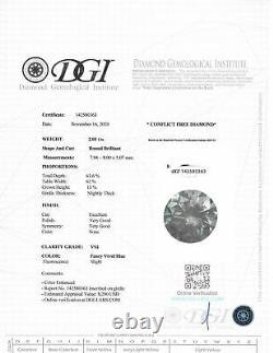 Loose Forme Ronde Diamant Fancy Blue Couleur Vs2 Certifié Enhanced 2.03 Carat