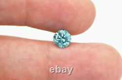 Loose Round Cut Diamond Fancy Blue 0.96 Carat Enhanced Earth Mined Vs2 Certifié