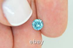 Loose Round Shape Diamond Blue Fancy Color 0.60 Carat Si1 Certifié Amélioré