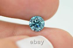 Loose Round Shape Diamond Blue Fancy Color 1.01 Carat Vs2 Enhanced Certified