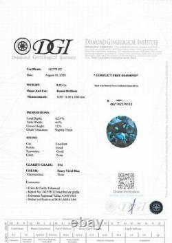Loose Round Shape Diamond Fancy Blue Color Certifié Enhanced 0.91 Carat Vs1