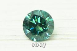 Loose Round Shape Diamond Fancy Blue Color Enhanced 0.68 Carat Vs2 Certifié