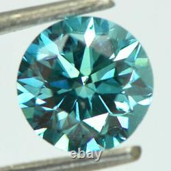 Loose Round Shape Diamond Fancy Blue Color Vs2 Certifié Enhanced 1.36 Carat