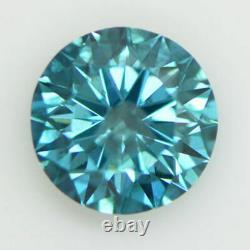 Loose Round Shape Diamond Real 1.24 Carat Fancy Blue Color I1 Certifié Enhanced