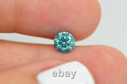 Loose Turquoise Diamond 0,90 Carat Round Fancy Vs2 Amélioré Pour Bague De Fiançailles