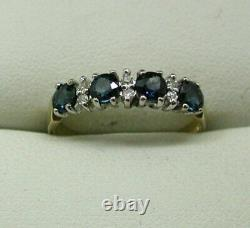 Lovely 9 Carat Gold Sapphire And Diamond Half Eternity Style Ring Size O