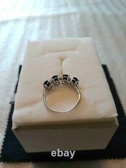 Magnifique Genuine 2.44 Carat Sapphires & Diamond 14k Solid White Gold Ring