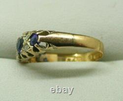 Magnifique Saphir En Or De 22 Carats Victorien Et Diamant Taille De La Bague N
