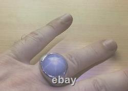 Men's Estate Platinum & Diamond Blue Star Sapphire Ring 35+ Carats Closeout $$$